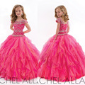 Little Girls Pageant Dresses Sheer Crew Neckline Beading Crystal Sequins Ruffle Tulle Ball Gown Floor Length Girls Party Dress