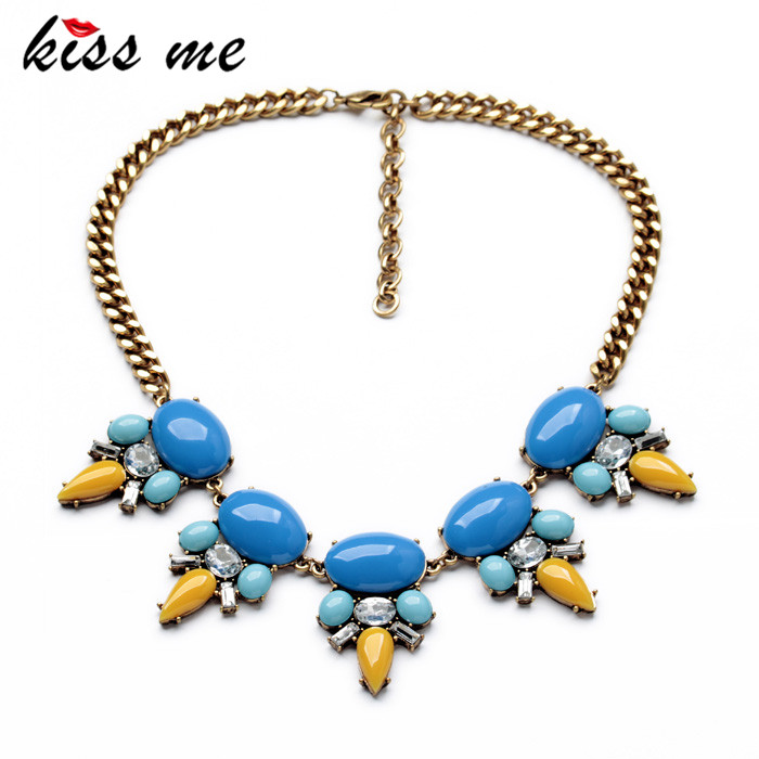 ③KISS ME New Design Fashion Jewelry Gold Color Blue Shiny Pendant ...