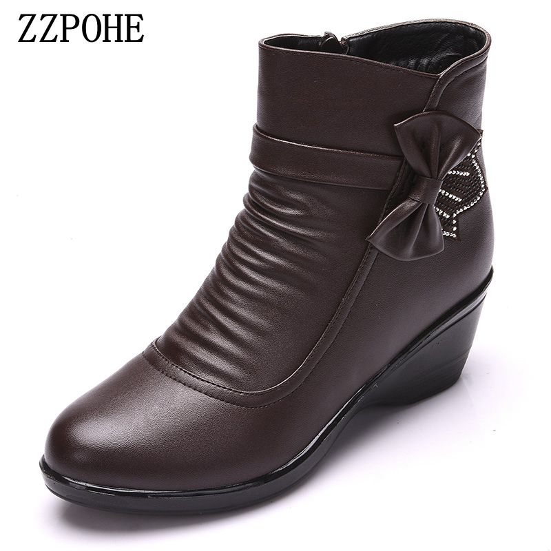 ZZPOHE Winter Boots Woman Genuine Leather Warm Ankle Boots Women Fashion Waterproof Cotton shoes Ladies Snow Boots plus size 41 roxdia genuine leather men ankle boots snow winter warm fashion work male waterproof for mens shoes plus size 39 48 rxm051