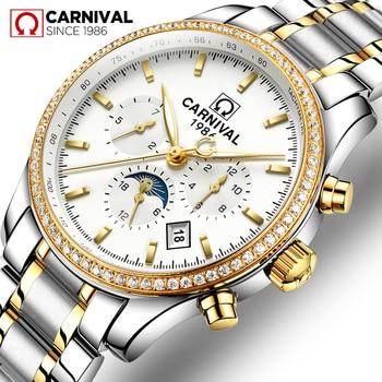e04c6f21f70c Nueva moda reloj automático de los hombres carnaval hombres mecánico  relojes marca de lujo reloj impermeable reloj de pulsera montre homme