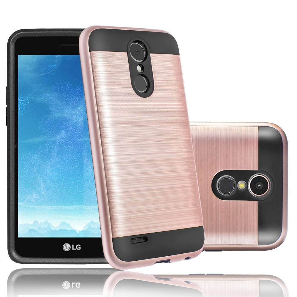Suaget 2 in 1 Brushed Case For LG K20 Plus K20 V Harmony Slim Rugged Rubber Soft TPU Silicone Hard Phone Cover For LG K10 2017
