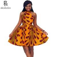 Shenbolen 2017 afrikaanse jurk voor vrouwen Afrikaanse batik print sling halter jurk mini sexy royale vrouwelijke zomer nieuwe modellen