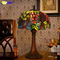 High Qulity Luxury Garden Grape Tiffany Lamp Living Room Study Room Stained Glass Table Lamp Art