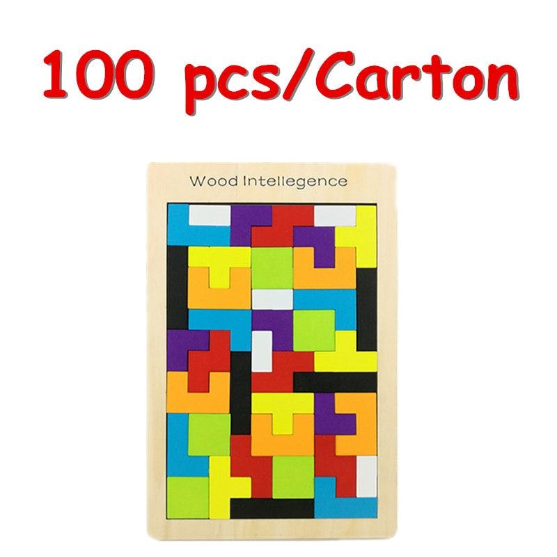 Atacado 100 Pcs/Carton Tetris Puzzle Brinquedo De Madeira Do Jogo Da Família de Construção Geométrica Tangram Criança Brinquedos Do Bebê Presente de Aniversário