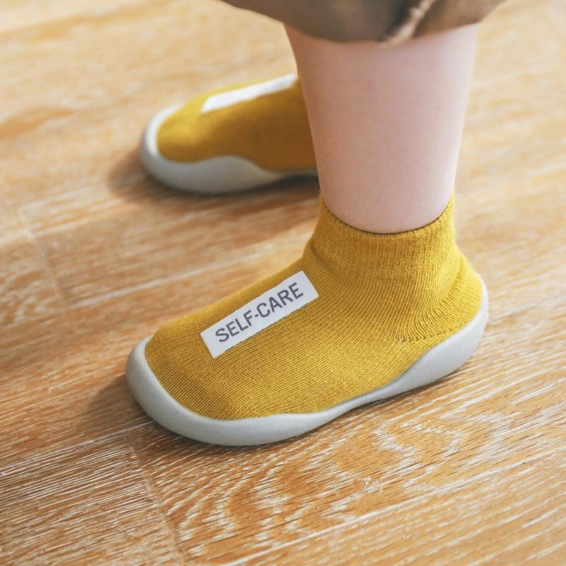 2019 Spring Summer NewBorn Children's Non-Slip Floor Shoes Baby Learn Shoe Gear Socks Cotton Short Tube Baby Tennis Shoes Babe