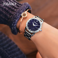 Luxury Top Brand Oubaoer Women Watch Shining Crystal Dial Watch Women Bracelet Silver Fashon Ladies Wrist Watch relogio feminino