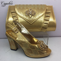 Hot Sale Fashion Gold Shoes And Bags Set For Dress 2019 African High Quality Sandals Women Shoes And Purse Set Size 37 42 BL305C