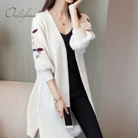 Ordifree 2017 Autumn Winter Women Long Knitted Cardigan Pullover Floral Embroidered Plus Size 3XL XXXL White