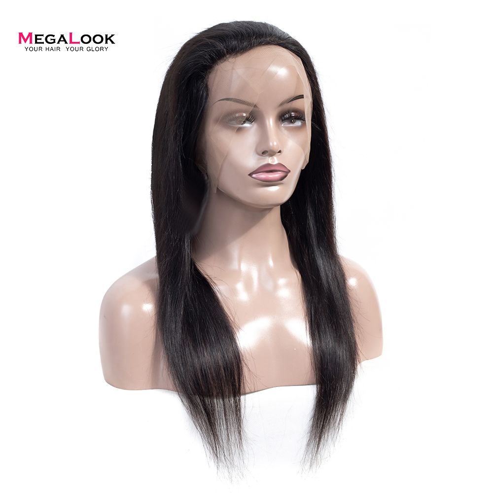 Megalook 360 Lace Frontal Closure Pre Plucked With Baby Hair Peruvian Straight  Remy Human Hair 10-22 Inches