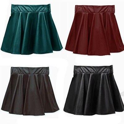 Hot Fashion Women Girl Faux Leather High Waist Skater Flared Pleated Short Mini Skirt