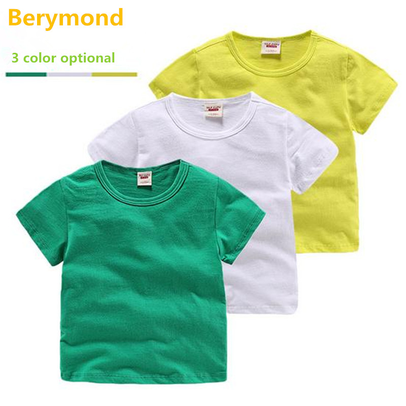 2017 Berymond niños más nuevo niños Camiseta 100% algodón de la muchacha  top t sólido cabritos del verano del bebé niño ocasional averanger camisetas a2bf742441ee7