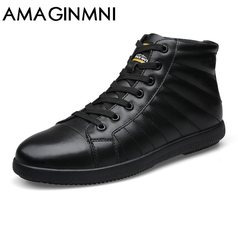 AMAGINMNI Brand Big Size Men Shoes Fashion Winter Leather Ankle Boots Genuine Leather Mens Cowboy Boots Male Moccasin Boots