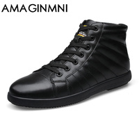 AMAGINMNI Big Size Men Shoes Fashion Winter Leather Ankle Boots Genuine Leather Mens Cowboy Boots Male