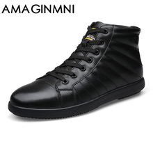 AMAGINMNI Brand Big Size Men Shoes Fashion Winter Leather Ankle Boots Genuine Leather Mens Cowboy Boots