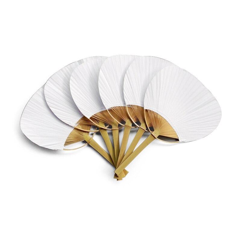 TOP!-24Pcs/Lot Wedding White Paddle Fan For Wedding Decoration