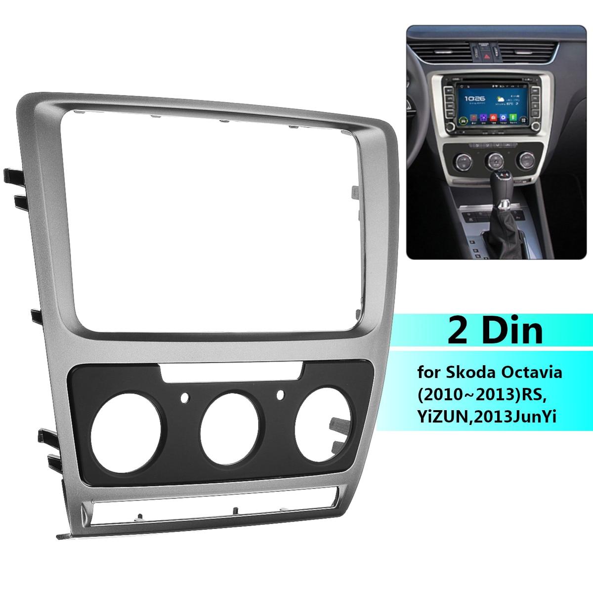 Car Stereo Radio Fascia Panel Plate Frame CD DVD Audio Dash Mount Trim For Skoda Octavia Manual A/C 2010 2011 2012 2013