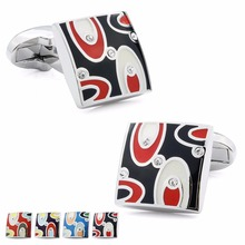 Factory Retail Trendy Colorful Enamel with Crystal Four Color Optional Fashion Men's Charming Shirt Cuff Links