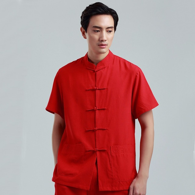 Red Large Size XXXL Men Cotton Linen Shirt Chinese Male Kung Fu Tai Chi Short  Sleeve Top Clothing With Pocket 2350 51b74c4a6
