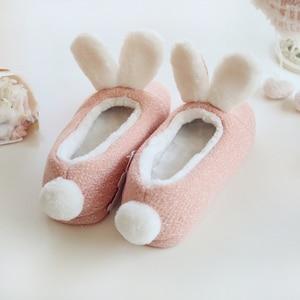 Image 2 - Millffy Новые теплые зимние милые тапочки кролика, очень мягкая теплая Нескользящая одежда для дома, спальни