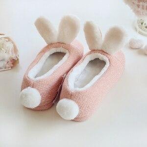 Image 2 - ¡Nuevo! Zapatillas de invierno Millffy con conejo adorable y cálido, zapatos antideslizantes para el dormitorio