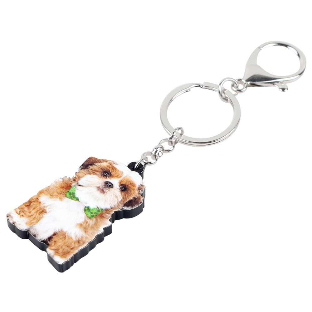 Bonsny declaración acrílico chino Shih Tzu perro llaveros llavero lindo Animal joyería para mujeres niñas bolso coche amuletos de mascota colgante