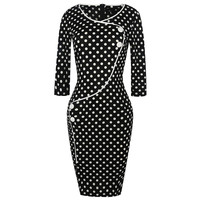 Younrui Elegant Polka Dot Women Dresses Black O Neck 3 4 Sleeve Split Bottom Office Work