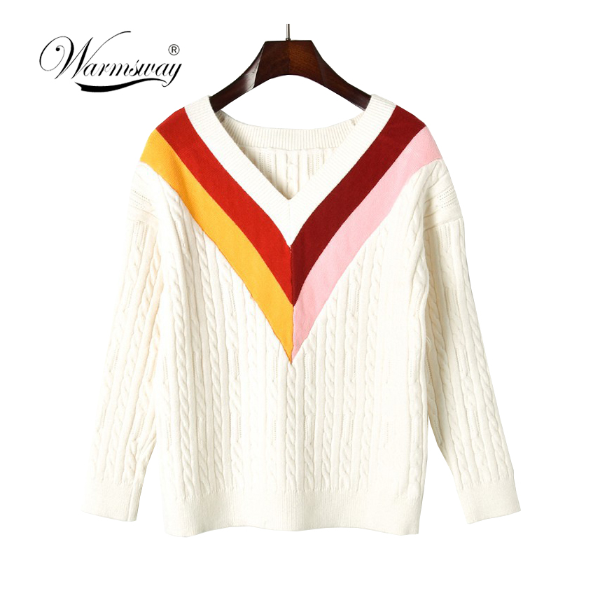 Fashion big V contrast color sweater Women o neck knitted sweater and pullover 2019 Autumn winter jumper pull femme C-340