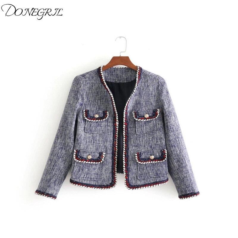 2018 femmes vêtements à manches longues col en v épissé tweed veste court manteau femme décontracté mode slim patchwork cardigans vêtements d'extérieur