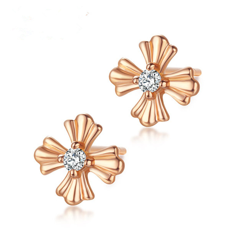 VOJEFEN Flower Earrings - 18k Gold Cubic Zirconia Stud Earrings Gold Flower Stud Earring for Women Girls Hypoallergenic EarringsVOJEFEN Flower Earrings - 18k Gold Cubic Zirconia Stud Earrings Gold Flower Stud Earring for Women Girls Hypoallergenic Earrings