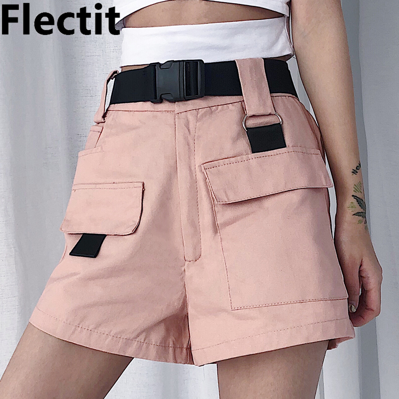 Flectit Summer Women Cargo Shorts Korean Fashion High Waist Mini Shorts with Pocket Buckle Belt Casual Ladies Shorts * pocket