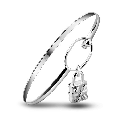 Bracelets & Bangles Supply Free Shipping 925 Silver Bracelet Lovely Lady Flowers Lock Bracelet Sterling Silver Jewelry Fashion Simple Girl Bracelets Jewelry & Accessories