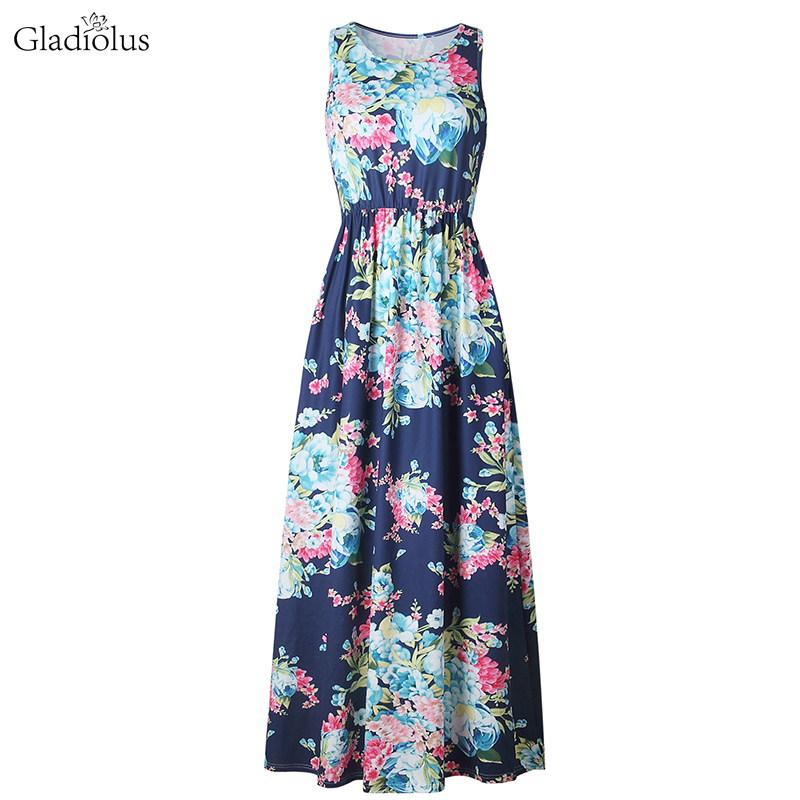 Gladiolus Hot 2019 Summer Dress Women Sleeveless O Neck Floral Print Casual Women Maxi Dress Loose Long Ladies Dresses Sundress