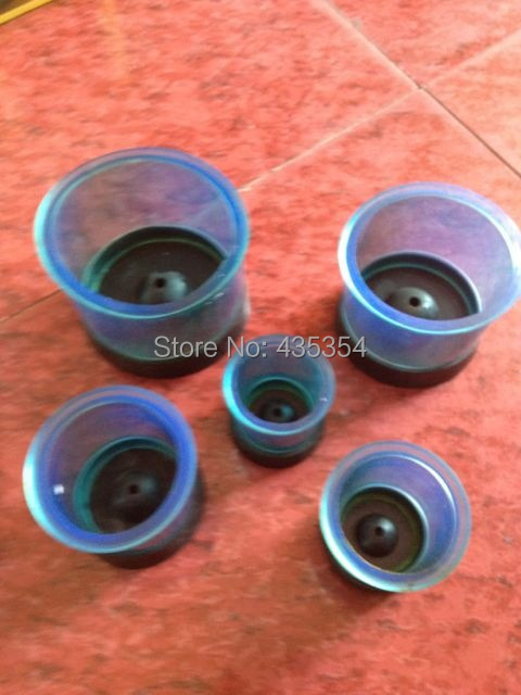 5 Pieces Dental Lab Materials Silicone Investment Rings Plastic Black Base & Blue Rings as shown in picture