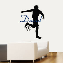 Free shiping diy Custom Boy Name Sport Soccer Player Vinyl Decal wall sticker home decoration Removable stickers mural Wall art 3d soccer player and goal wall art sticker decal