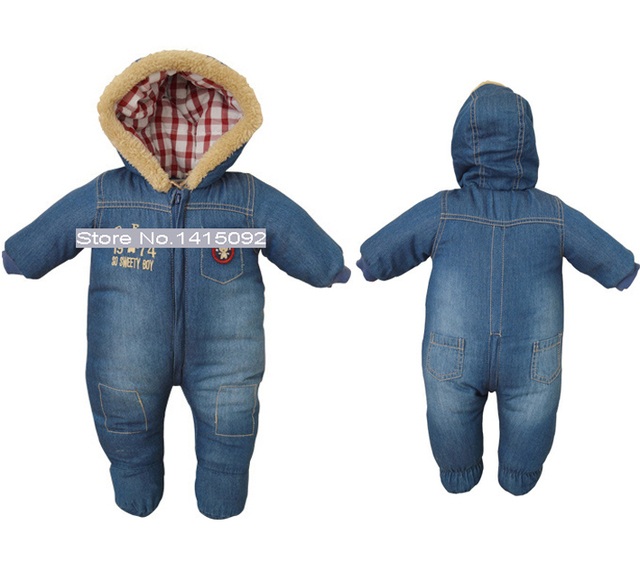 20d713546ef0 baby boy girl denim snowsuit romper winter newborn cotton one-piece suit rompers  infant warm hoody jumpsuit coverall for toddler