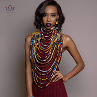 2019 Ankara Beautiful Multi Strand Necklace African Bold Colorful Long Exotic Jewelry Anfrica Handmade Necklaces WYB181
