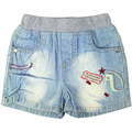Boy's embroidery Letter andl Star pattern short Jeans with 4 pockets and elastic waistband for toddler kids #36810
