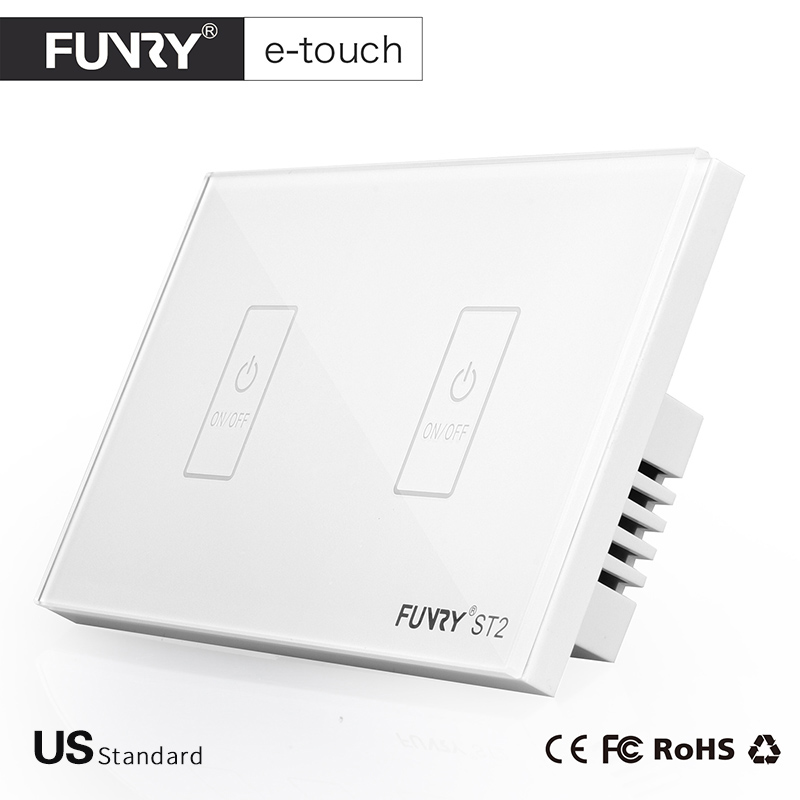FUNRY US Standard Light Switch, Crystal Glass Panel, 2 Gang 1 way, Smart Touch Switch, AC 110-250V for Light -Black/White/Gold funry uk standard 1 gang 1 way smart wall switch crystal glass panel touch switch ac 110 250v 1000w for light