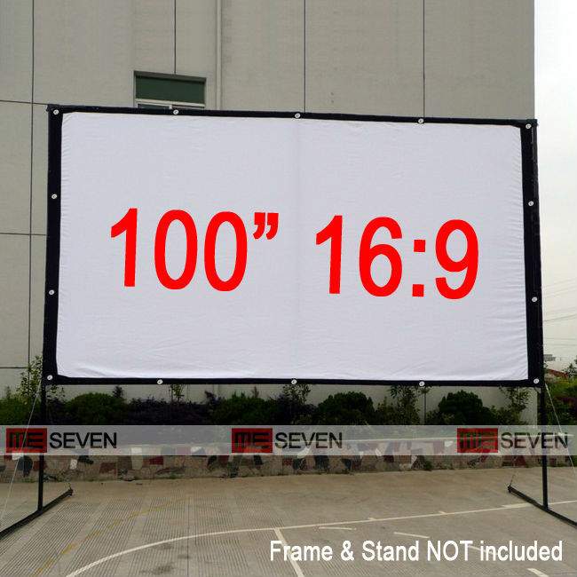 100 Inches 16:9 Matte White Canvas Fabric Portable Folding Frame Projection  Screen For Any Projectors, Cheap Price Free Shipping