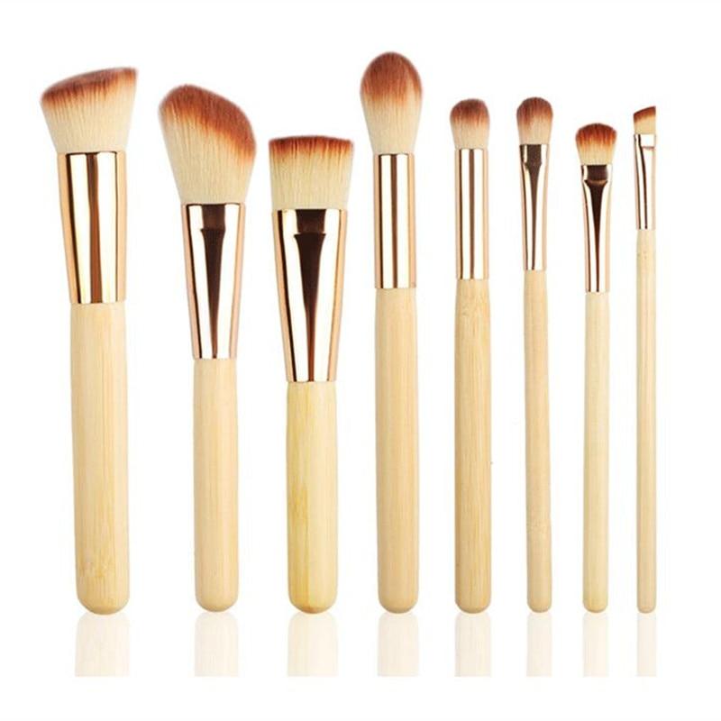 8Pcs Bamboo Handle Maquiagem Kits Escova Cosmética Brushes Set Fundação Eyeshadow Blush Em Pó Sintético Beleza Facial Maquiagem Tool