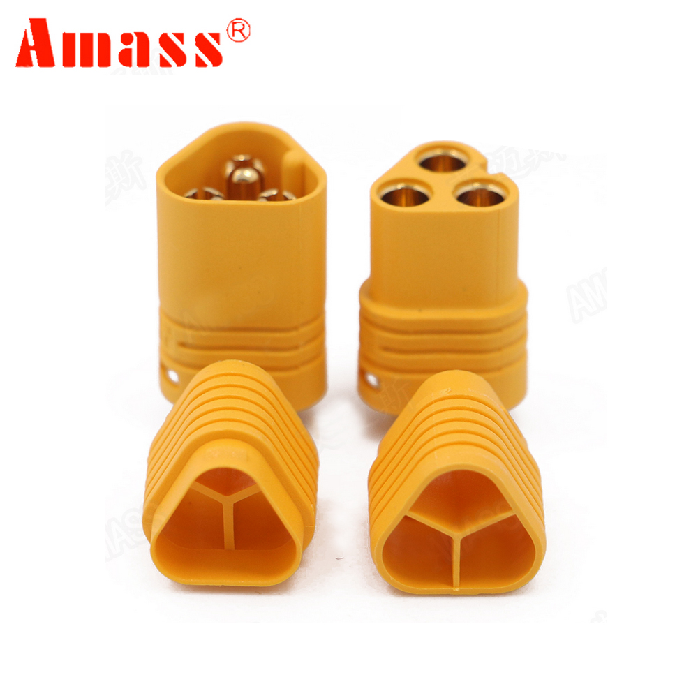 2pair AMASS MT60 3.5mm 3 pole Bullet Connector Plug Set For RC ESC to Motor