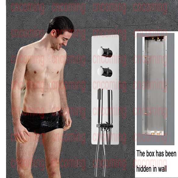 New Arrival Concealed Thermostatic Shower Set Wall Mounted Bathroom Faucet  Panel Mixer Tap Temperature Control Valve AA0002 chrome finish dual handles thermostatic valve mixer tap wall mounted shower tap