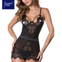 Black Sexy See Through Lace Babydolls Sleepwear Lace Chemise One Piece Lingerie With G String Erotic