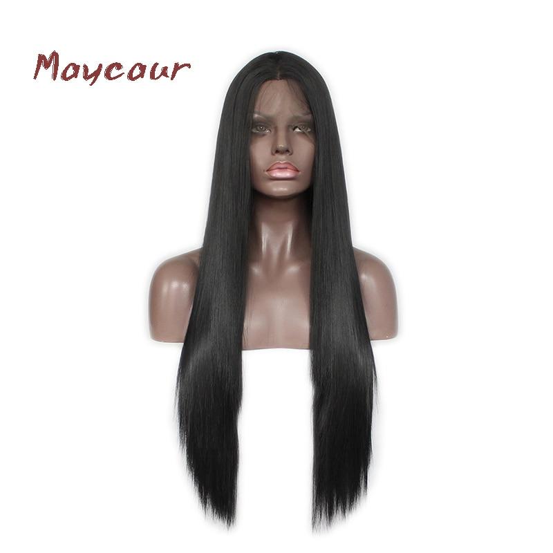 Длинные прямые волосы синтетические Синтетические волосы на кружеве парик натуральный волос черный Цвет волокна волос парики