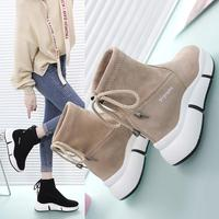 Winter New Casual Sports Boots Thick soled Martin Boots Round Head Strap Flat Platform Shoes Student Female Laarzen Leisure