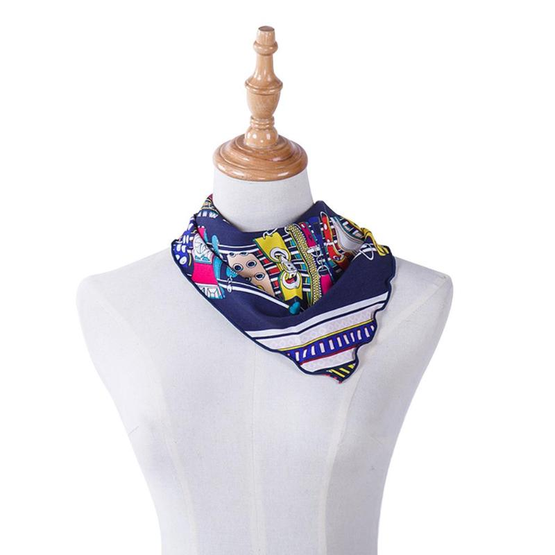 Fashion Women Floral Print Scarf Triangle Collar Scarves Casual Decoration