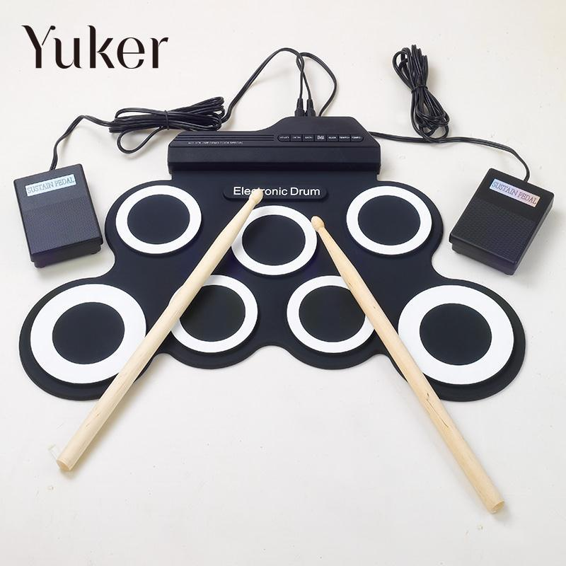 Yuker Professional 7 Pad Digital Portable Collapsible Silicone Musical Roll-up Electronic Drum Pad K Set with Stick 6pcs set 39x 27 5x2 5cm silica gel foldable portable roller up usb electronic drum kit 2 drum sticks 2 foot pedals