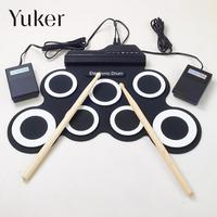 Professional 7 Pad Digital USB MIDI Portable Collapsible Silicone Musical Roll Up Electronic Drum Pad K