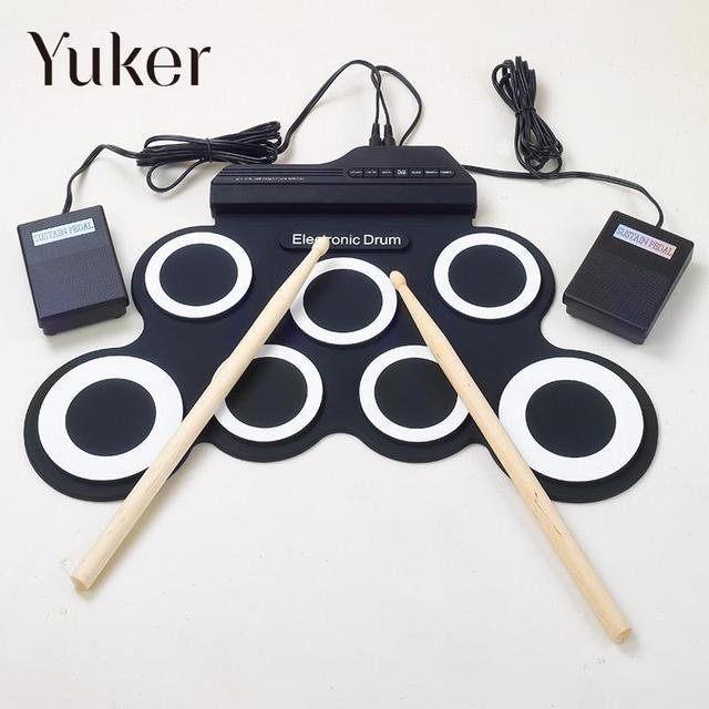Yuker Professional 7 Pad цифровой переносные, складные, силиконовые музыкальный рулон электронный барабан Pad K набор с палкой
