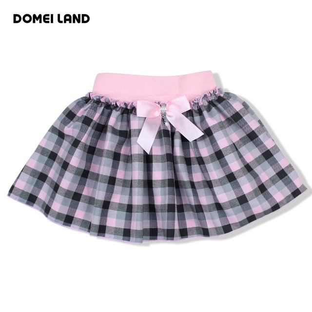 2016 Fashion Summer Kids Girls clothing Tutu Skirt For Cotton Bow Children party Plaid beautiful Skirt clothes